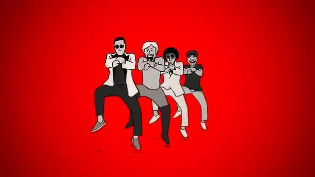 卡通人物舞蹈江南style视频