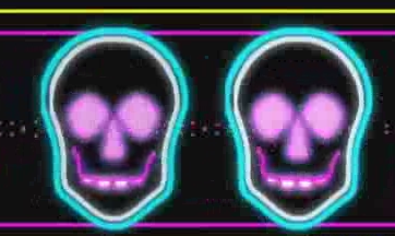 酒吧VJ  霓虹闪烁动感节奏诡异骷髅3 视频素材