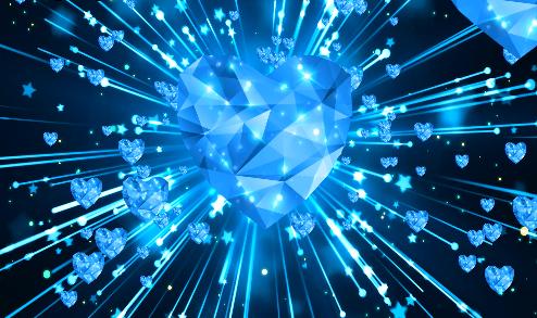 天蓝色水晶爱心led视频素材