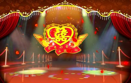婚庆喜字带花瓣LED视频背景素材