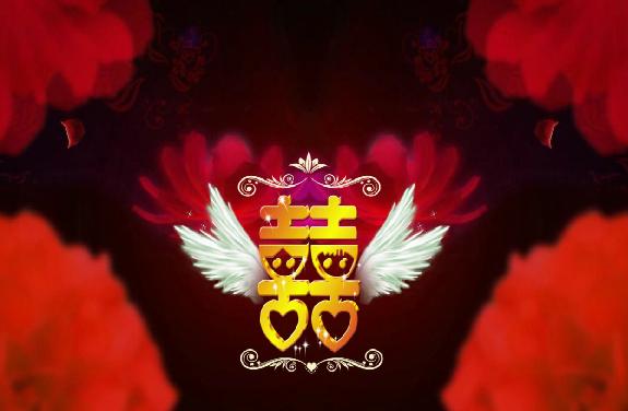 婚庆舞台喜字带翅膀LED视频素材