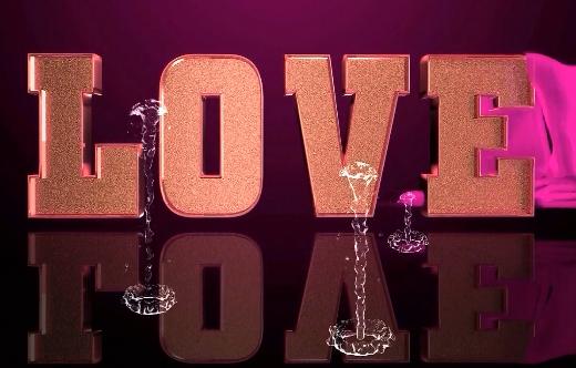 love文字喷水泉LED视频素材