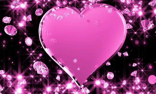 闪亮钻石心形爱心高贵典雅婚礼LED视频素材