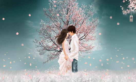 唯美爱心樱花情侣LED视频素材