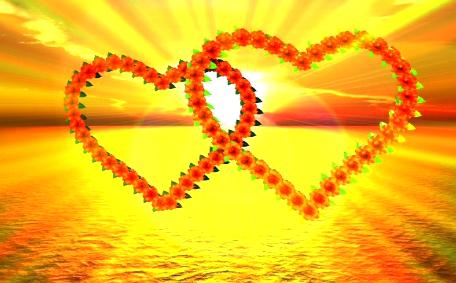 金色双心唯美大气LED婚庆浪漫视频素材