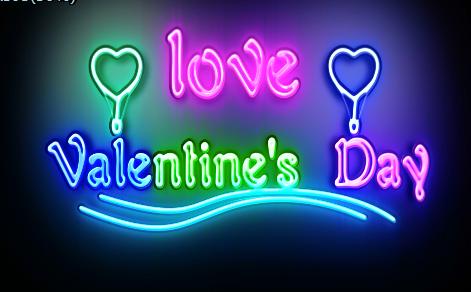 love情人节霓虹闪烁LED视频素材