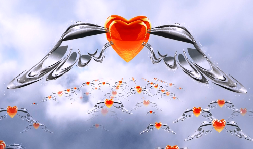 云层中的翅膀云海爱心翅膀视频素材