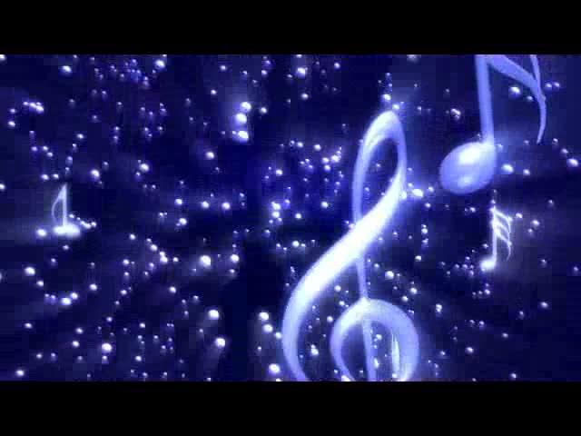 飘落的音符 蓝色荧光舞台背景 视频素材