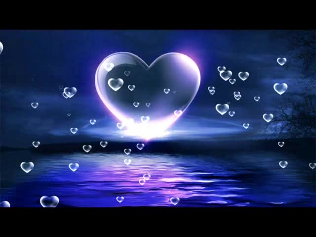 唯美夜晚爱心倒影湖面LED视频素材