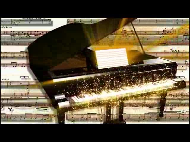 唯美钢琴金色发光闪闪LED视频素材