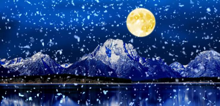 唯美月色风景LED视频素材