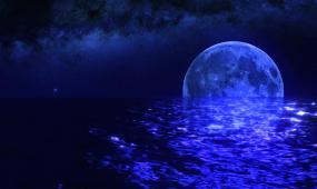 蔚蓝星空明月倒影LED舞台背景视频素材