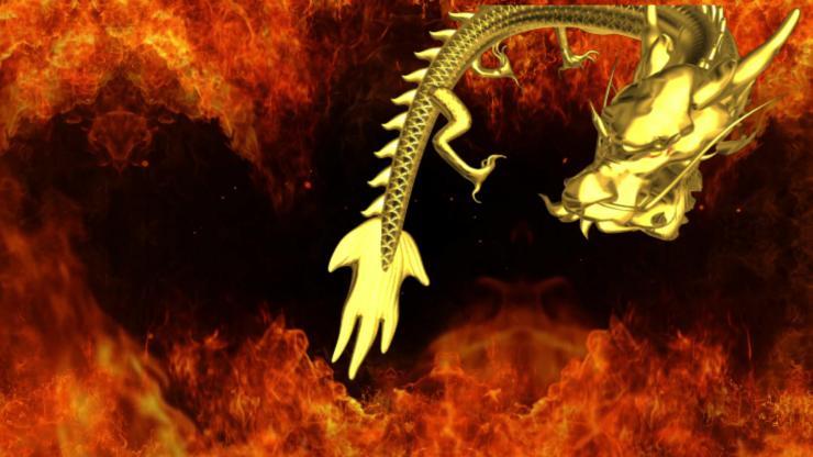 燃烧烈火龙穿越LED晚会背景视频素材