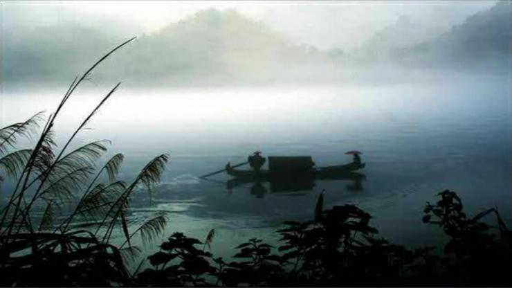 水墨风湖边小舟LED晚会背景视频素材