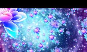 唯美水彩莲花粒子LED晚会背景视频素材