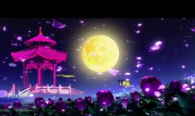 唯美紫色花亭子月亮 视频素材