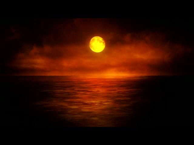 暖色月光海洋