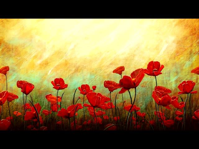 油画中的花朵盛开