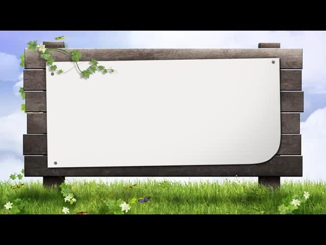 草地蝴蝶黑板报效果
