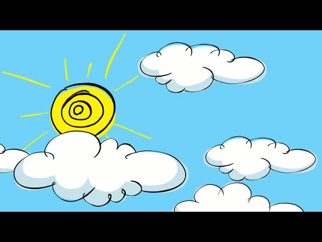 动画天空白云太阳