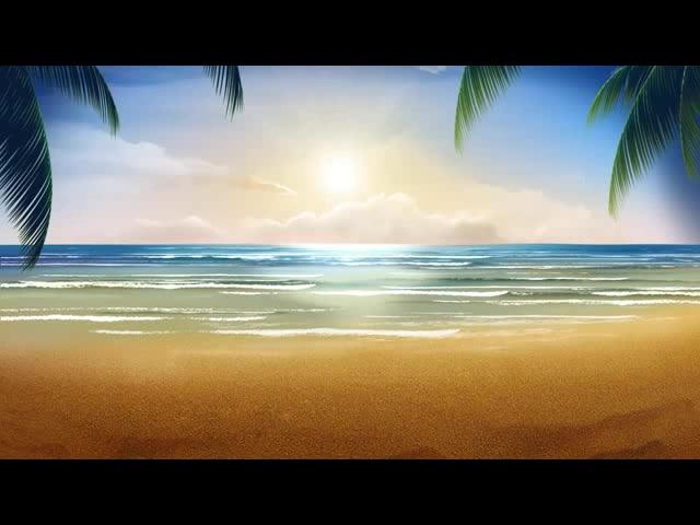 海边椰子树沙滩