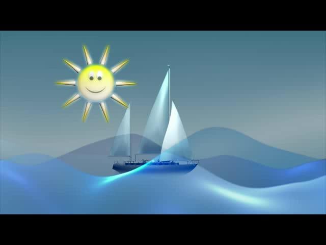 卡通太阳海面帆船鱼群