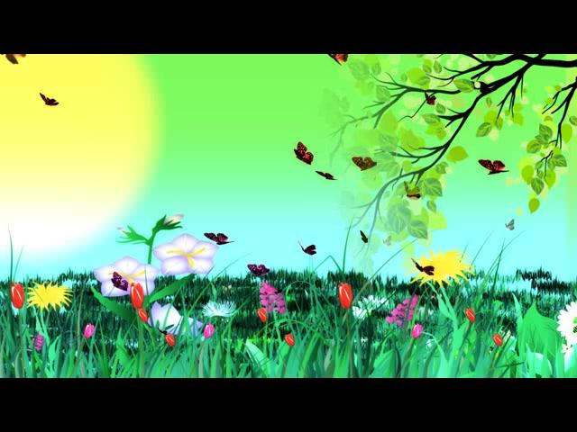 春意盎然春天彩虹花草 led视频vj素材