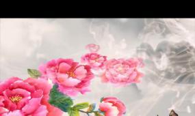 唯美牡丹花蝴蝶高清背景