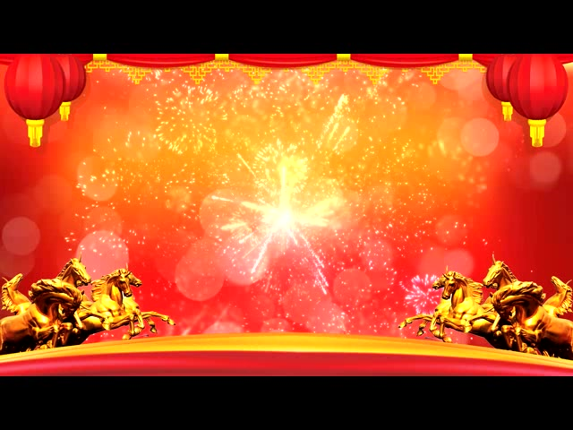 马年节日烟花视频背景