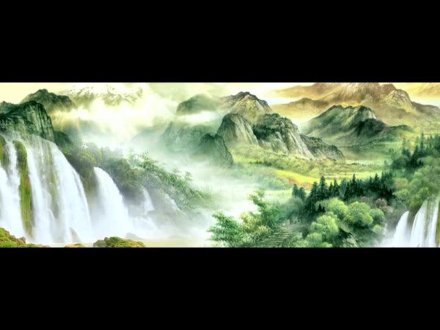 中国画水墨风格山水 可无限循环