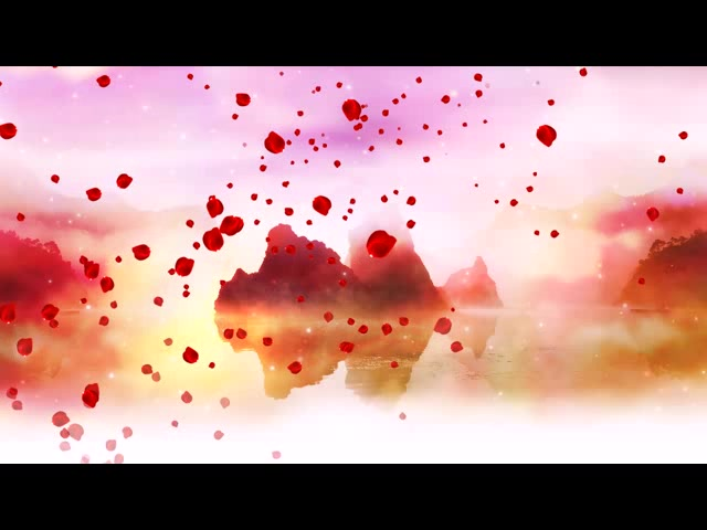 河山 花瓣 红歌背景