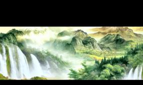 中國畫水墨風格山水 可無限循環