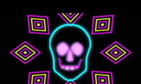 骷髅霓虹闪烁动感节奏诡异