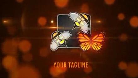 唯美梦幻的线条勾勒蝴蝶logo揭示片头AE模板