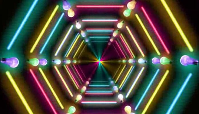 灯泡霓虹线条穿梭