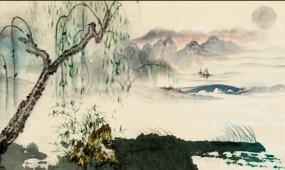 水墨画 浏阳河江南水乡风景