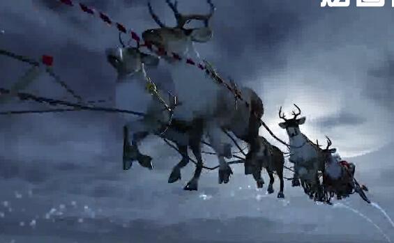 圣诞老人坐鹿车送圣诞礼物视频