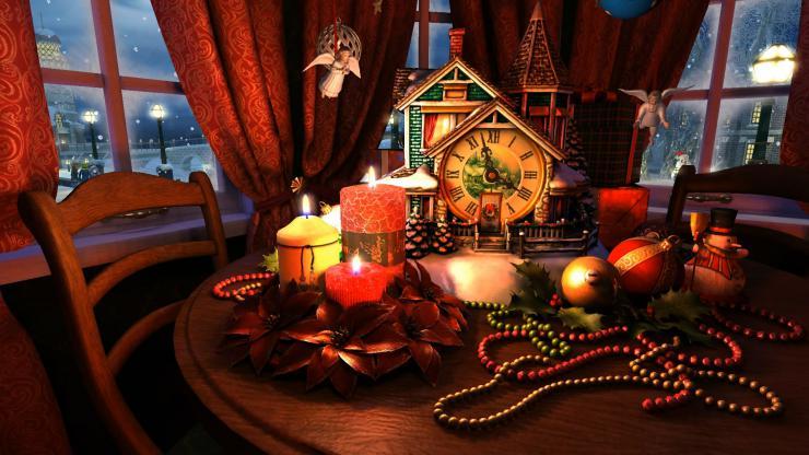 圣诞节圣诞夜雪花飘落视频