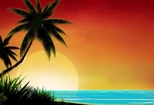椰子树傍晚蓝色大海视频素材