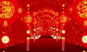 喜庆元宵节中国风红灯笼高清中国结春晚走廊通道红色
