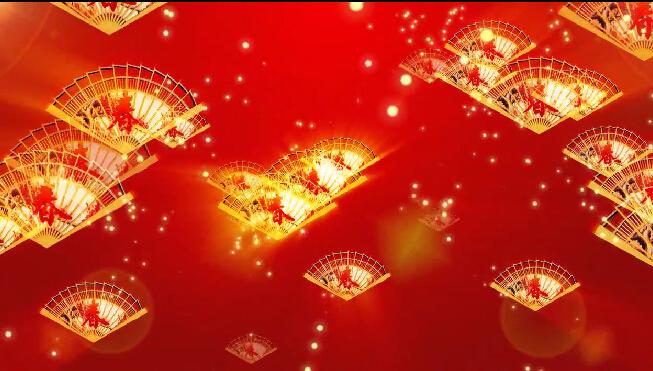 春节喜庆纸扇LED背景视频素材