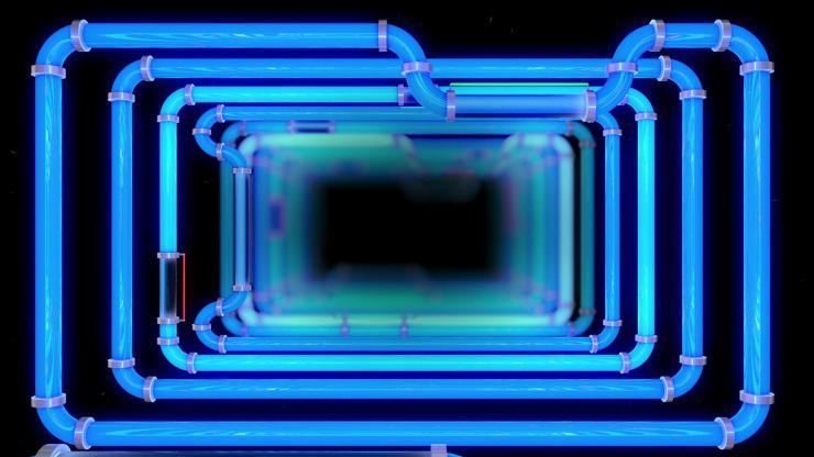 酒吧 夜店 高清 动感 LED 背景 金属 管道 高速运动