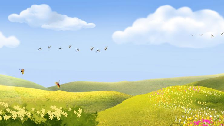 草原 鲜花背景  鸿雁