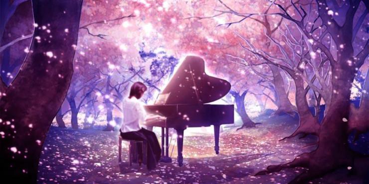 唯美梦幻樱花树花瓣飘零美女弹钢琴 大屏幕LED背景视频素材