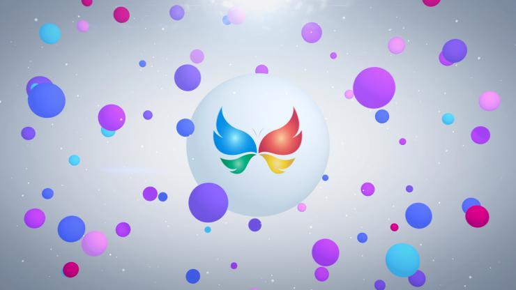 彩色3d飘浮圆球汇聚成LOGO标志展示模板
