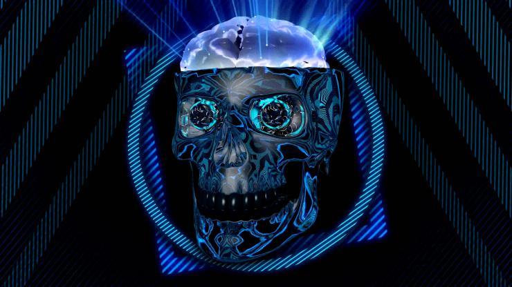 蓝色金属骷髅