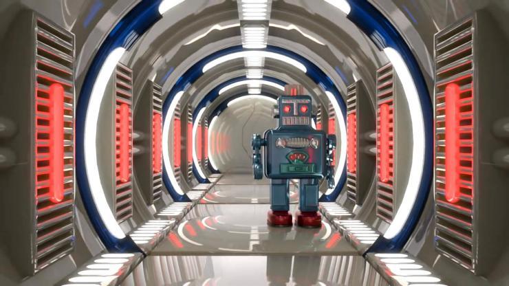 创意3D隧道机器人视频素材