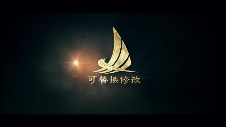 震撼金色粒子吹拂logo标志显示片头模板
