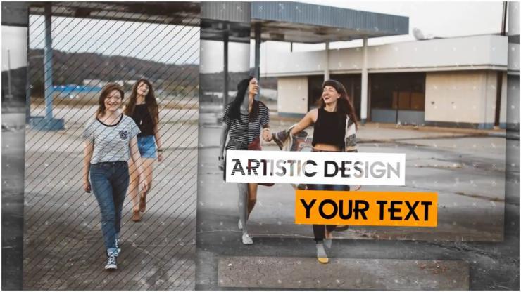 时尚图片分割拼接图文展示模板