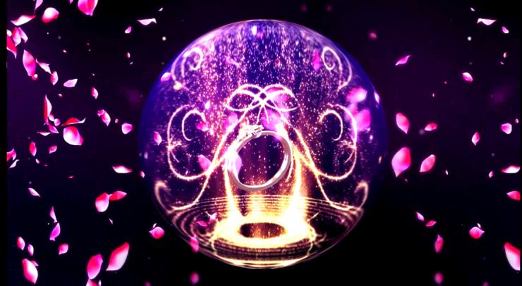 最新全息婚礼光效粒子水晶球花瓣戒指